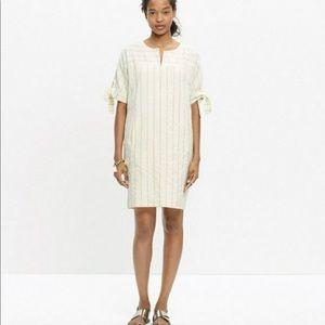 Madewell Tie Sleeve Cotton Dress in Stripe